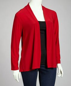 Take a look at this Red Open Cardigan - Plus by Avital on #zulily today!