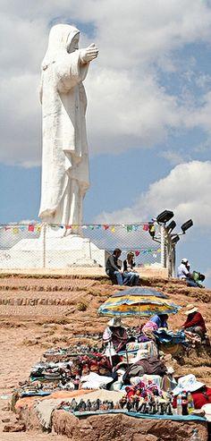 Christ Statue, Cusco, Peru. (I saw this, I just LOVE Peru) http://exploretraveler.com