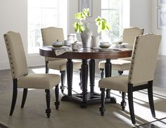 """54"""" Round Cherry Top Black Dining Table Set"""