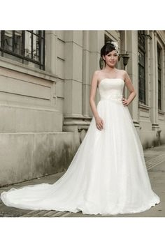 2015 Strapless A-line Noble White Wedding Dress With Chapel Train