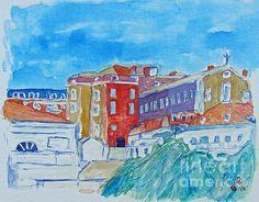 Lisboa, Portugal - #Watercolor on #Canvas #Board - 30 x 40 cm - by Greg Mason Burns -  www.gregmasonburns.com -  Prints - http://fineartamerica.com/featured/lisboa-portugal-greg-mason-burns.html
