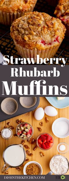 These Strawberry Rhubarb Muffins are jam packed with fruity goodness and bursting with flavour. They're easy to bake up and stay moist for days. Healthy Muffin Recipes, Savory Snacks, Real Food Recipes, Baking Recipes, Snack Recipes, Brunch Recipes, Summer Recipes, Healthy Breakfast Options, Breakfast Recipes