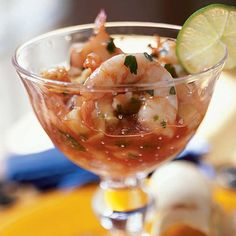 """Ceviche de Camaron (Shrimp Ceviche Cocktail)  Although a classic ceviche has raw fish that's been marinated in fresh lime juice long enough to """"cook"""" the fish, this party version features cooked shrimp that's served in a vegetable and lime juice mixture."""