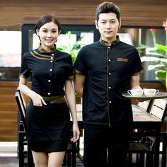 Wholesale Retail Man Hotel Waiter Uniform Waiters Uniforms for Restaurant Short Sleeved Summer Chef Waiter Jacket for Women Hotel Uniform, Uniform Shop, Uniform Dress, Boutique Interior, Kellner Uniform, Chef Dress, Waiter Uniform, Staff Uniforms, Chinese Restaurant