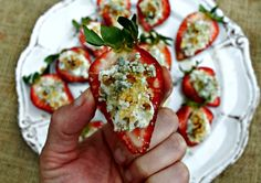 Stuff strawberries with blue cheese and walnuts for a berry delicious and easy appetizer! Oh, and have you ever run the Fit Foodie 5k -- coming to Austin!