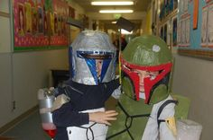 """""""Boba & Janga Fett"""" Entered in our halloween recycled costume contest by a parent from Capt."""