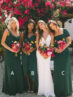 Buy New Style Sheath Sweetheart Chiffon Dark Green Bridesmaid Dresses, Wedding Party Dress online. Rock one of the season's hottest looks in a burgundy homecoming dress or choose a timeless classic little black dress. Cheap Bridesmaid Dresses Online, Elegant Bridesmaid Dresses, Forrest Green Bridesmaid Dresses, Green Bridesmaids, Bridesmaid Gowns, Emerald Green Bridesmaid Dresses, Patterned Bridesmaid Dresses, Bridesmaid Color, One Shoulder Bridesmaid Dresses