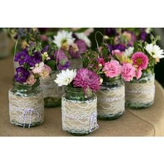 burlap lace mason jar wedding decor centerpieces and Reception, Styles, Jars, Wedding Ideas, Centerpieces Burlap Wedding Decorations, Wedding Centerpieces Mason Jars, Centerpiece Decorations, Table Centerpieces, Vintage Centerpieces, Hanging Decorations, Purple Centerpiece, Inexpensive Centerpieces, Floral Decorations