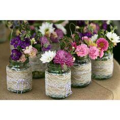 Burlap lap mason jar flower vases