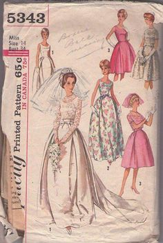 MOMSPatterns Vintage Sewing Patterns - Simplicity 5343 Vintage 60's Sewing Pattern INCREDIBLE Sheer Lace Top PLEATS Detail Wedding Gown With Train, Rockabilly Cocktail Party Dress, Red Carpet Gala Event, Jacket, MUST HAVE