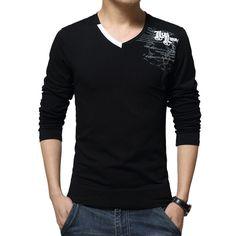 2016 New Men T-shirt Long Sleeve Cotton Sport T Shirt Plus Size 5XL Clothing High Quality Street V-neck Printing Clothes