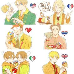 Hetalia ~ America, France, Turkey, Australia, Romano, Italy and England