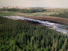 A Nexen-supplied image of a pipeline oil spill near the Long Lake oil sands operation. The spill has ignited outrage from communities along pipeline routes.