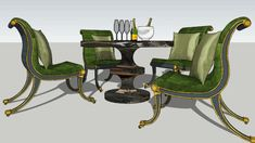 "Regency Chairs with Marble Table: ""Champagne Brunch"" - 3D Warehouse"