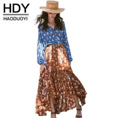 Encontrar Más Faldas Información acerca de Hdy haoduoyi manera de la impresión floral bohemio maxi faldas las mujeres de cintura alta faldas de una línea femenina floja ocasional faldas de las señoras, alta calidad Faldas de NEW FASHIONS  en Aliexpress.com