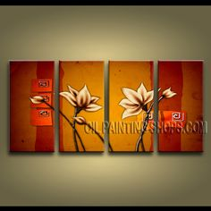 Large Modern Abstract Painting Hand-Painted Art Paintings For Bath Room Tulip Flowers. This 4 panels canvas wall art is hand painted by Bo Yi Art Studio, instock - $138. To see more, visit OilPaintingShops.com
