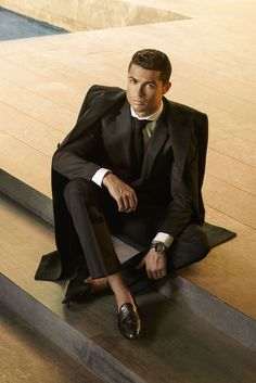 Cristiano Ronaldo wearing  CR7 Flamenco Dressy Loafer, Tag Heuer Link Calibre 16 Automatic Chronograph