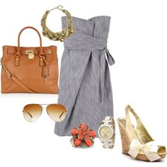 love the dress and shoes...iffy on the bag and necklace with it