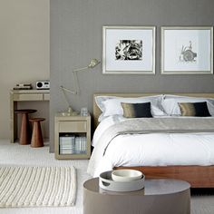 Egyptian Cotton with a darker grey statement wall.