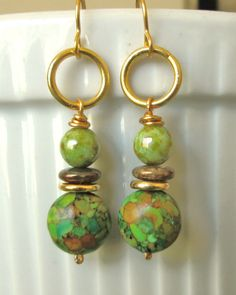 Gold wire green mosaic howlite, green & brown glass beads dangle earrings.     Please visit my ebay page to see all of my earrings for sale: www.ebay.com/...?::