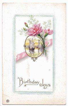 "Vintage 1915 ""Birthday Joys"" Floral & Picture Scene Color Postcard  #Birthday"