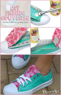 DIY Fabric Accent Sneakers Check out these DIY fabric covered converse! Personalized Chucks, how fantastic. My girls are going to love doing this craft project [. Craft Projects, Sewing Projects, Shoe Crafts, Diy Crafts, Clothes Crafts, Diy Vetement, Diy Mode, Painted Shoes, Diy Clothing