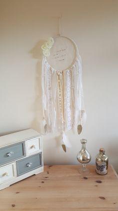 "Hand made Ivory and Cream 9"" Dream Catcher, Wall Hanging, Wall Decor, wedding, nursery, christening, boho decor dreamcatcher, beautiful gift"