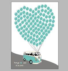 Signature VW Camper Van Wedding Poster Guest Book Alternative. £35.00, via Etsy.
