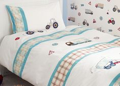 Tractors And Trucks Bedset at Laura Ashley Childrens Bed Linen, Childrens Room Decor, Linen Bedding, Bedding Sets, Thomas Bedroom, Single Duvet Cover, Awesome Bedrooms, Kid Beds, E Design