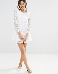 Image 4 ofMissguided Long Sleeve Frill Hem Lace Dress