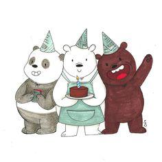 Constança Nobre's Illustrations : We Bare Bears Birthday card