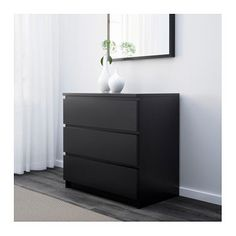 Malm Chest Of 3 Drawers Black Brown 80x78 Cm