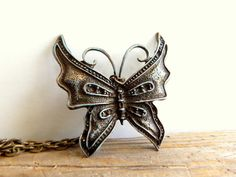 Patina Butterfly Necklace, Antique Brass Butterfly Jewelry, Charm necklace, Bohemian butterfly jewelry
