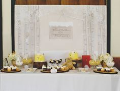 Vintage Winnie the Pooh Birthday Party - love the idea of beehives as smash cakes!