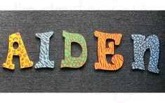 Hand-Painted Name Letters from Lindzdesign Name Letters, Custom Design, Symbols, Hand Painted, Painting, Icons, Paintings, Draw, Drawings