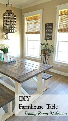 DIY Farmhouse table for the dining room! Perfect rustic table in my dining room makeover! Room table diy DIY Farmhouse Table - Leap of Faith Crafting Farmhouse Table Plans, Farmhouse Dining Room Table, Farmhouse Furniture, Rustic Table, Dining Rooms, Farmhouse Trim, Pallet Furniture, Farmhouse Windows, Country Furniture