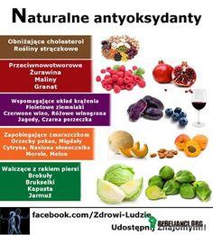 Naturalne – Antyoksydanty lub przeciwutleniacze- to substancje bardzo często roślinne które posiadają właściwości wspierające naszą odpornośc i procesy obronne organizmu. Opóżniają one proces starzenia się organizmu,działają antynowotworowo czy po prostu ograniczają zakwaszenie organizmu, podnosząc dzięki temu wydolnośc i poprawiając samopoczucie. Pamiętajcie o tym komponując swoją dietę