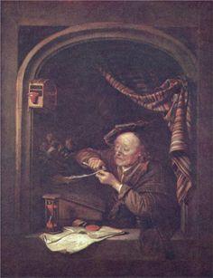 """The old schoolmaster"", 1671. Gerrit Dou (1613-1675) Dutch painter."