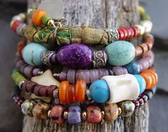 Boho Bangle Bracelet Set African Trade Beads Shell by jeanawells, $69.50