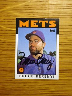 Bruce Berenyi: (1984-1986 New York Mets) 1986 Topps baseball card signed in black sharpie. (From my All-Time Mets Roster collection.)