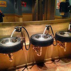 Automotive themed bathroom sink