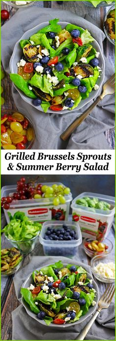 Easy Grilled Brussels Sprouts & Summer Berry Salad #SeeHowFreshWorks #ad