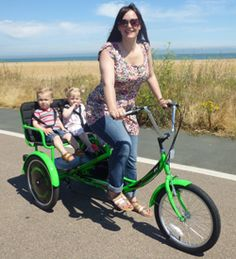 The Mission RV Child Transporter Tandem Tricycle is a specially designed frame with a twin child seat and safety harnesses. Velo Tricycle, Adult Tricycle, Bicycle Rims, Tandem Bicycle, Bamboo Bicycle, Velo Retro, Cargo Bike, Kids Seating, Pedal Cars