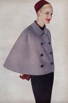 Great '50s cape... I need a pattern for something like this to make out of the coat leftovers.