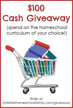 Hey there, homeschooling parent! Christian Homeschool Family and Imperfect Homemaker are teaming up to give away $100 cash that you can put toward the homeschool curriculum of your choice! The prize will be awarded via PayPal.   Be sure to refer your homeschooling friends!  You'll get 3 extra entries every time  a friend enters!  (Please do not refer others in your immediate household or you will be disqualified.)
