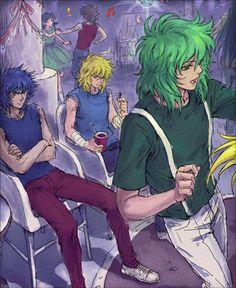 Me mola!! Shun bailando con Shaka e Ikki y Hyoga sin dirigirse la palabra XD