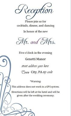 reception card sample