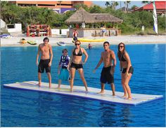 """This <a href=""""http://www.hammacher.com/Product/Default.aspx?sku=12118&promo=Sports-Leisure-Pool-Water&catid=1862"""" target=""""_blank"""">floating mat</a> which allows you to walk on water."""