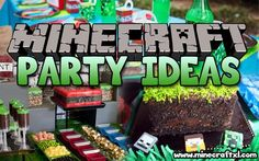 Planning a big Minecraft party? We have found all the best ideas for the ultimate Minecraft party of all time - find your inspiration here. Birthday Favors, Diy Birthday, Birthday Party Themes, Birthday Ideas, Minecraft Party, Minecraft Cake, Minecraft Crafts, Minecraft Ideas, Minecraft Skins