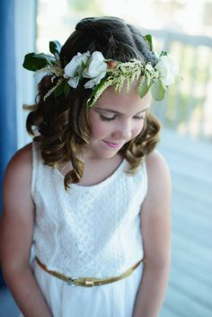 Flower girl flower crown Corolla Beach Wedding    Heart of Harlow Outer Banks wedding coordinator Photogrpahy by Neil GT Photography